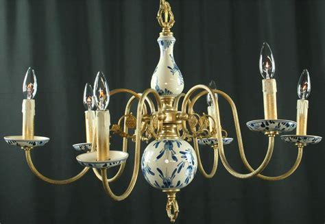 delft chandelier vintage blue delft chandelier 1950s 6 metal arms