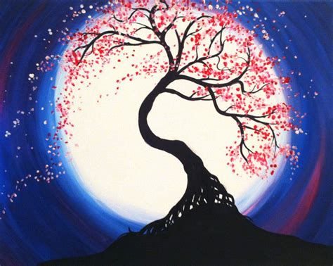paint nite jersey city moonlit tree of at the bar paint nite events