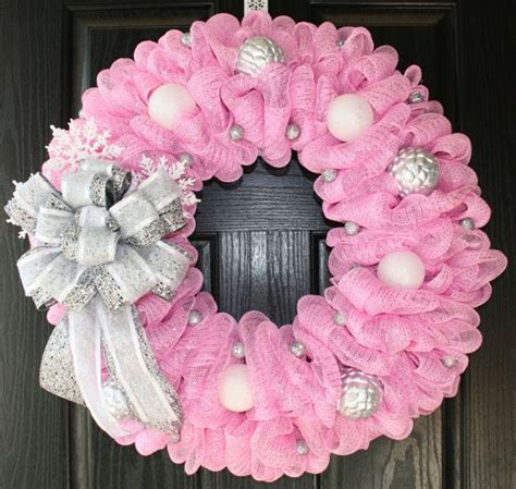 pink wreaths big sale pretty in pink and silver winter deco