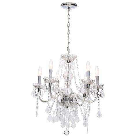 chrome and chandeliers hton bay 6 light chrome and acrylic theresa