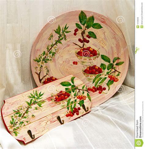 decoupage plate decoupage plate and towel rail royalty free stock photo