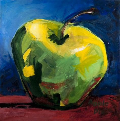 acrylic painting apple big apple original painting by janettmarie