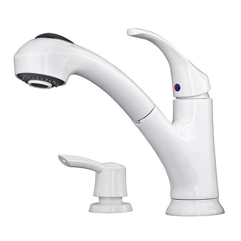 white kitchen faucets shop pfister shelton white 1 handle deck mount pull out kitchen faucet at lowes