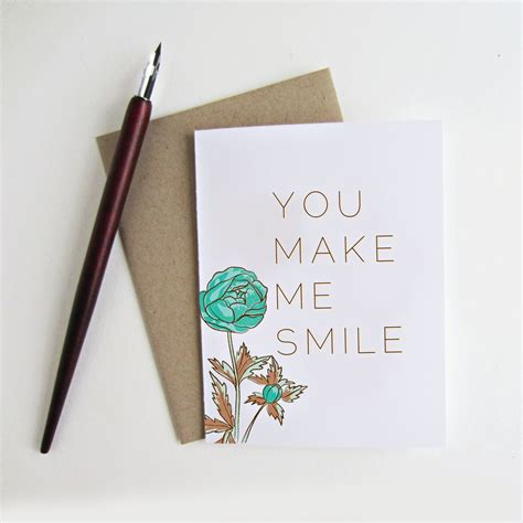 you make me smile card you make me smile greeting card blank inside by snowandivy