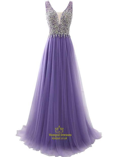 tulle beaded dress lavender v back sleeveless tulle prom dress with beaded