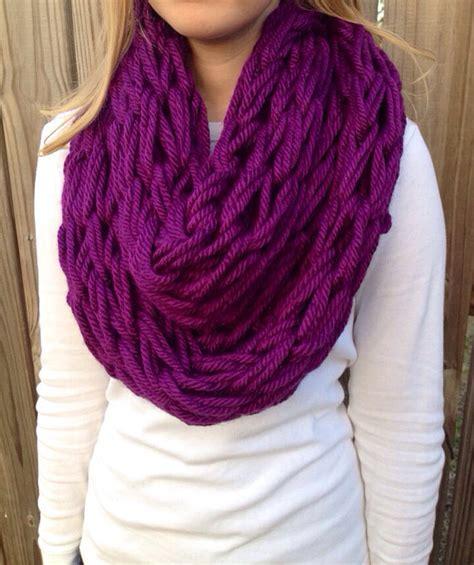 arm knit a scarf items similar to purple arm knit scarf chunky infinity