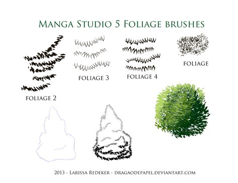 brushes for studio 5 foliage brushes for studio 5 by dragaodepapel on