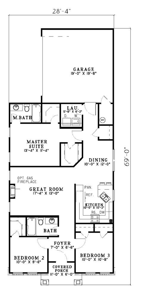 floor plans for narrow lots hemistone narrow lot ranch home plan 055d 0225 house plans and more