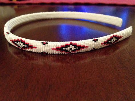indian beaded headbands american beaded headband white and black