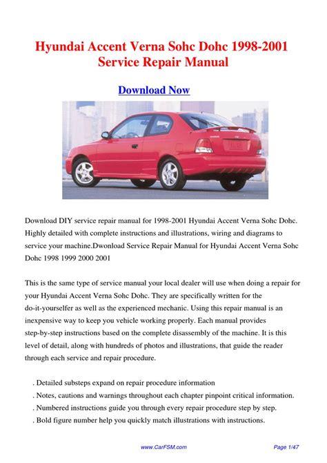 1998 2001 hyundai accent verna sohc dohc service repair manual by gong dang issuu