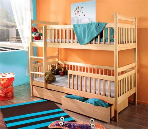 lit superpos enfant en bois massif 2 lits enfants avec sommiers et tiroirs