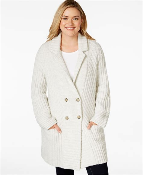 knit sweater coat lucky brand plus size rib knit sweater coat in lyst