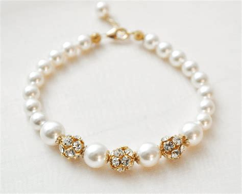 pearls with gold gold pearl bracelet ivory pearl gold bridal bracelet gold