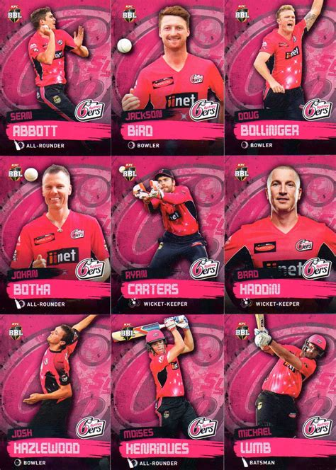 card supplies sydney 2015 16 ca bbl cricket 15 card team set sydney sixers