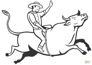 rodeo cowboy bull riding coloring page free printable