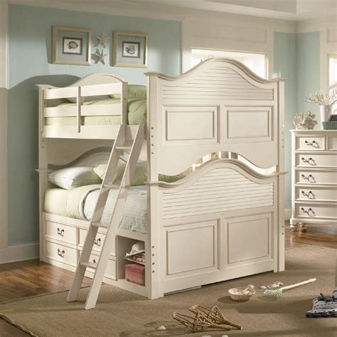 antique bunk beds retreat in antique white bunk bed by lea children s furniture