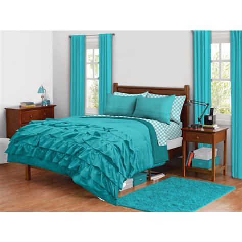 ruffled bedding sets latitude ruffled bedding comforter set turquoise