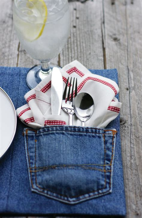 denim craft projects make upcycled denim placemats 187 dollar store crafts