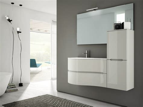 single wall mounted vanity unit with cabinets smyle comp