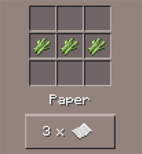 paper crafting recipe paper minecraft pocket edition canteach
