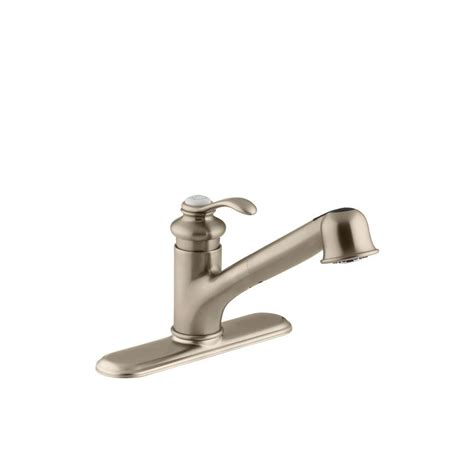 brushed bronze kitchen faucets kohler fairfax single handle pull out sprayer kitchen faucet in vibrant brushed bronze k 12177