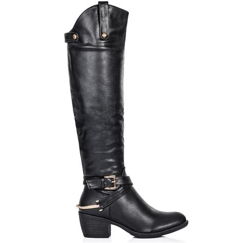 leather knee high boots for buy heeled knee high boots black leather style