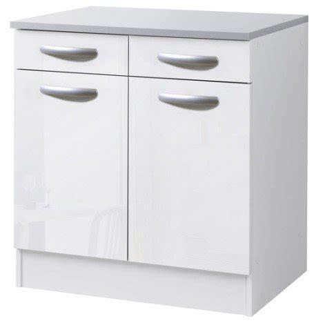 meuble de cuisine bas 2 portes 2 tiroirs blanc brillant h86x l80x p60cm leroy merlin