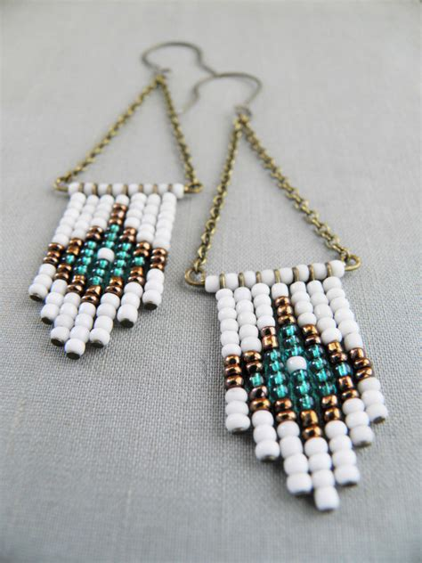 beaded earrings american beaded chevron earrings american beaded earrings