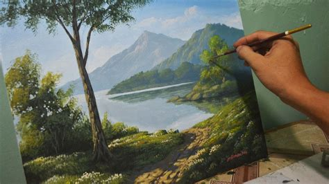 painting landscapes acrylic landscape painting lesson morning in lake by