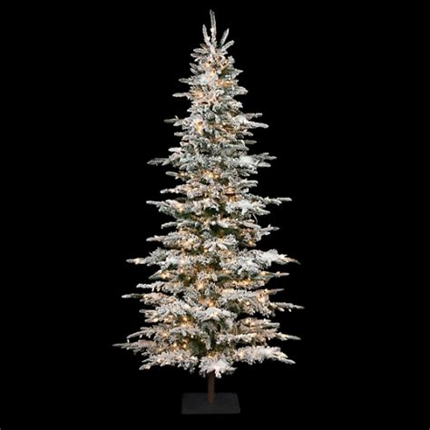 9 ft slim flocked tree 9 ft pencil tree slim pre lit trees