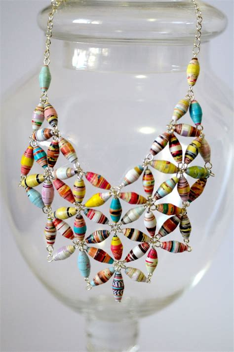 paper bead statement paper bead bib necklace gemstones be cool and