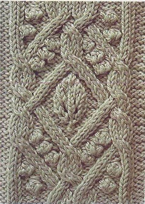 knitted leaves free knitting patterns ornate cable with leaf and bobbles