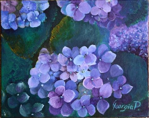 acrylic painting hydrangeas hydrangea painting reserved for simpsonandspann by