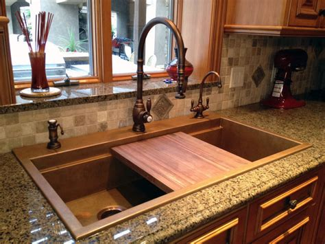 kitchen with copper sink signature top mounted copper sink with black walnut