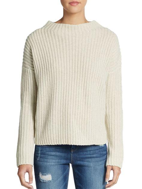 shaker knit sweater vince shaker knit yak wool blend sweater in white lyst
