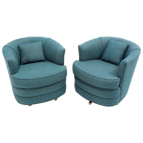 barrel style swivel chair pair of swivel barrel lounge chairs for sale at 1stdibs