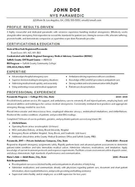 emt paramedic resume example