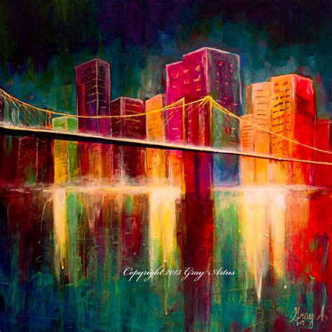 acrylic painting nyc large colorful original acrylic painting of