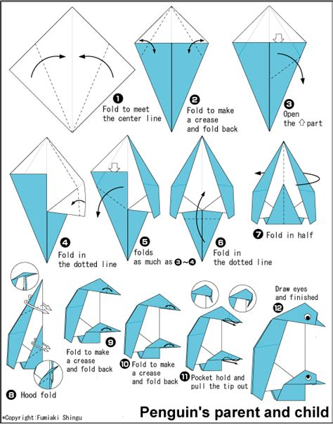 easy origami penguin penguin s parent and child easy origami for
