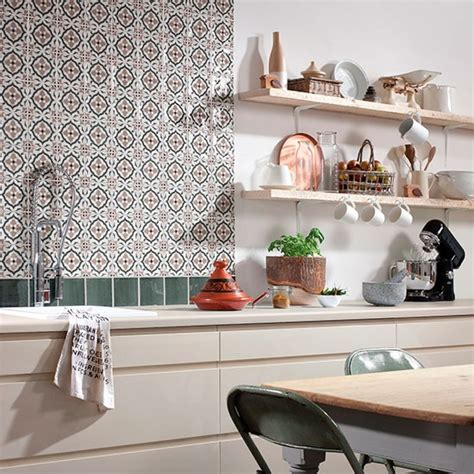 kitchen tiled splashback ideas tangier decorative tile splashback from topps tiles