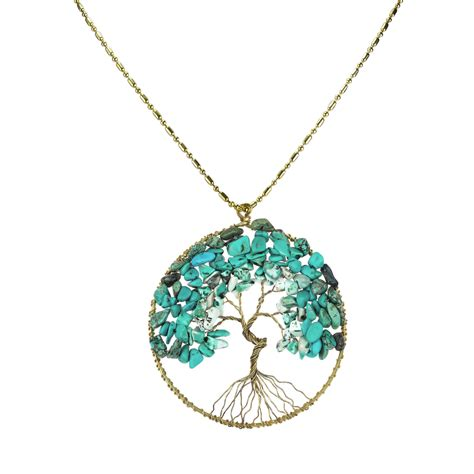 unique pendants for jewelry turquoise eternal tree of brass necklace