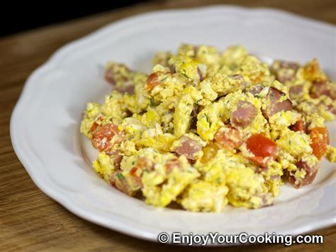 scrabbled eggs recipe scrambled eggs with ham and tomatoes recipe my