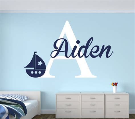 nursery vinyl wall decals personalized name sailboat wall decal for boys nautical