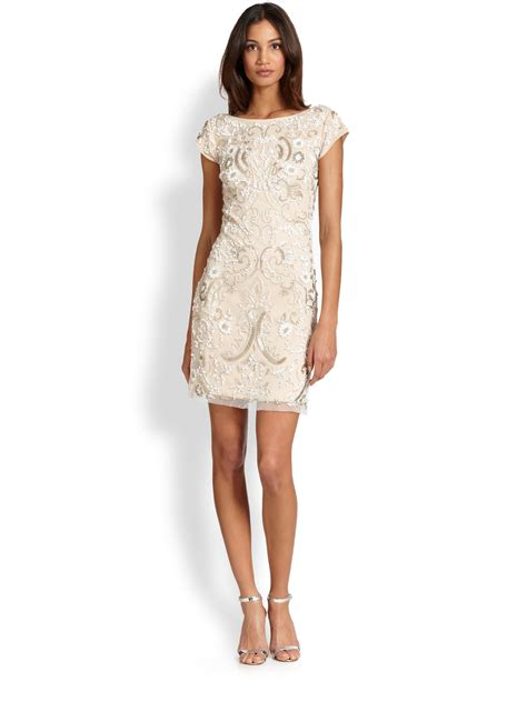 beaded dress aidan mattox beaded cocktail sheath dress in lyst