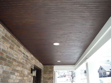 hardie beaded porch panel up of the stained wood custom porch ceiling