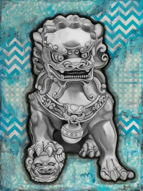 blue fu dog 11 x 14 art print wall decor