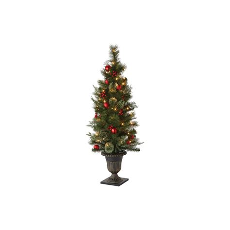 artificial tabletop trees martha stewart living 48 in indoor pre lit cedar and pine