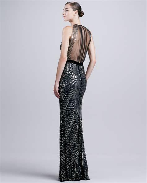 beaded halter gown naeem khan sheerback beaded halter gown in black lyst