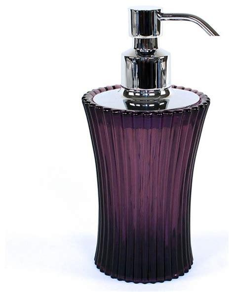 glass soap dispenser purple contemporary