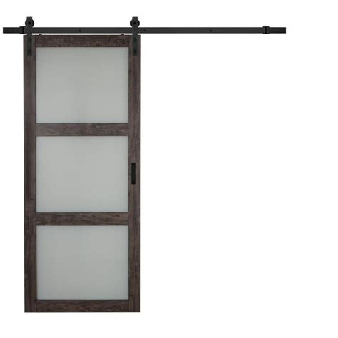 shop iron aged grey 3 lite frosted glass sliding barn